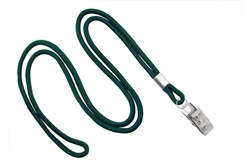 "Forest Round 1/8"" (3 mm) Lanyard W/ Nickel-plated Steel Bulldog Clip (QTY 100)"