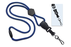 "Royal Blue 1/4"" (6 mm) Round Lanyard W/ Breakaway, Diamond Slider & Detach Swivel Hook (QTY 100)"