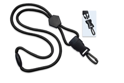 "Black 1/4"" (6 mm) Round Lanyard W/ Breakaway, Diamond Slider & Detach Plastic Swivel Hook (QTY 100)"