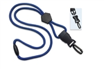 "Royal Blue 1/4"" (6 mm) Round Lanyard W/ Breakaway, Diamond Slider & Detach Plastic Swivel Hook (QTY 100)"