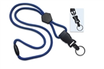 "Royal Blue 1/4"" (6 mm) Round Lanyard W/ Breakaway, Diamond Slider & Detach Split Ring (QTY 100)"
