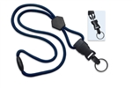 "Navy Blue 1/4"" (6 mm) Round Lanyard W/ Breakaway, Diamond Slider & Detach Split Ring (QTY 100)"