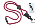 "Red 1/4"" (6 mm) Round Lanyard W/ Breakaway, Diamond Slider & Detach Split Ring (QTY 100)"