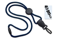 "Navy Blue 1/4"" (6 mm) Round Lanyard W/ Breakaway, Round Slider & Detach Plastic Swivel Hook(QTY 100)"