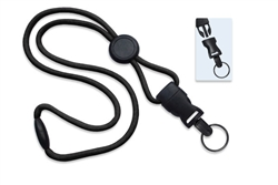 "Black 1/4"" (6 mm) Round Lanyard W/ Breakaway, Round Slider & Detach Split Ring (QTY 100)"