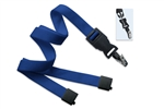 "Royal Blue 5/8"" (16 mm) Flat Tubular Lanyard W/ Breakaway & Detach Bulldog Clip (QTY 100)"