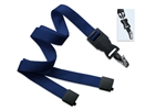 "Navy Blue 5/8"" (16 mm) Flat Tubular Lanyard W/ Breakaway & Detach Bulldog Clip (QTY 100)"