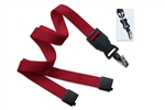 "Red 5/8"" (16 mm) Flat Tubular Lanyard W/ Breakaway & Detach Bulldog Clip (QTY 100)"