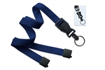 "Navy Blue 5/8"" (16 mm) Flat Tubular Lanyard W/ Breakaway & Detach Split Ring (QTY 100)"