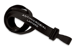 "Black 5/8"" (16 mm) Flat Anti-microbial Lanyard W/ Breakaway & ""no-twist"" Wide Plastic Hook (QTY 100)"