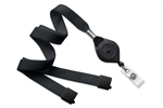 "Black 5/8"" (16 mm) Flat Tubular Lanyard W/ Breakaway & Slotted ""quick-lock"" Reel And Clear Vinyl Strap (QTY 100)"