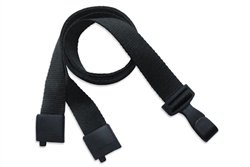 "Black Recycled PET 5/8"" (16 mm) Flat Lanyard W/ Breakaway And ""no-twist"" Wide Plastic Hook (QTY 100)"