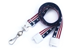 "Stars & Stripe 5/8"" (16 mm) Flat Breakaway Lanyard W/ Swivel Hook (QTY 100)"