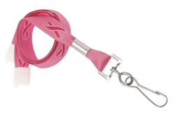 "Pink Ribbon 5/8"" (16 mm) Flat Breakaway Lanyard W/ Nickel-plated Steel Swivel Hook (QTY 100)"