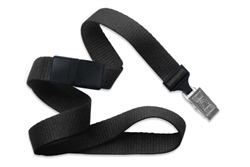"Black 5/8"" (16 mm) Microweave Polyester Breakaway Lanyard W/ A Universal Slide Adapter And Nickel-plated Steel Bulldog Clip (QTY 100)"