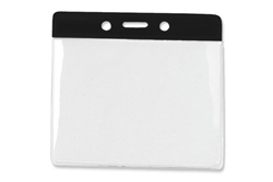 Black Horizontal Vinyl Color-Bar Badge Holder - Convention Size (QTY 100)