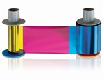 Fargo Half Panel Color Ribbon - YMCKO #45214 (850 prints) Full-color ribbon with resin black and clear overlay panel