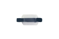 Arm Band Horizontal Vinyl Badge Holder w/Blue Strap -  Credit Card Size (QTY 1 Bag of 25)