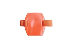 Arm Band Vertical Flourescent Orange Vinyl Badge Holder w/Orange Strap - Credit Card Size (QTY 1 bag of 25)