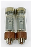 EL34 6CA7 MULLARD BRUXELLES BROWN BASE MATCH PAIR TUBES DOUBLE D GETTER HALO 1950