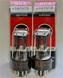 1952 RCA 6SN7 GT black-plate MATCHED PAIR