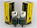 NOS 1950's SYLVANIA 6SN7 GTA black-plate CHROME TOP MATCHED PAIR