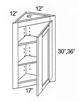 "Parkview Cabinets 36""(h) x 17""(w) x 12""(d) RTA Angle Wall Cabinet"