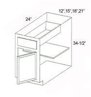 "Parkview Cabinets 12""(w) x 34-1/2""(h) x 24""(d) Single Door RTA Base Cabinet"