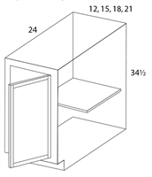 "Parkview Cabinets 12""(w) x 34-1/2""(h) x 24""(d) Single Door RTA Full Height Base Cabinet"