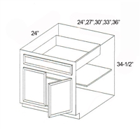 "Parkview Cabinets 27""(w) x 34-1/2""(h) x 24""(d) Double Door RTA Base Cabinet"