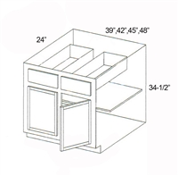 "Parkview Cabinets 42""(w) x 34-1/2""(h) x 24""(d) Double Door RTA Base Cabinet"