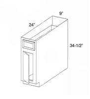 "Parkview Cabinets 9""(w) x 34-1/2""(h) x 24""(d) Single Door RTA Tray Divider Base Cabinet"