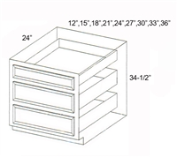 "Parkview Cabinets 12""(w) x 34-1/2""(h) x 24""(d) Triple Drawer RTA Base Cabinet"
