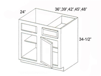 "Parkview Cabinets 42""(w) x 34-1/2""(h) x 24""(d) Corner Blind Base Cabinet"