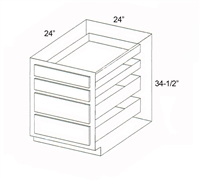 "Parkview Cabinets 24""(w) x 34-1/2""(h) x 24""(d) 4 Drawer RTA Base Cabinet"
