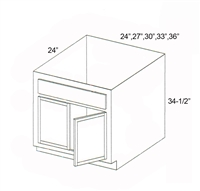 "Parkview Cabinets 24""(w) x 34-1/2""(h) x 24""(d) RTA Sink/Range Base Cabinet"
