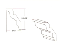 "Parkview Cabinets 3-11/16""(h) x 2-1/2""(w) x 96""(L) Crown Moulding"