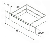 "Parkview Cabinets 6-3/8""(h) x 36""(w) x 21""(d) RTA Vanity Knee Drawer"