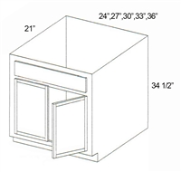 "Parkview Cabinets 34-1/2""(h) x 27""(w) x 21""(d) RTA Tall Vanity Sink Base Cabinet"