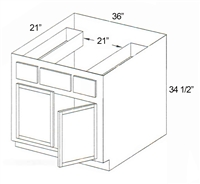 "Parkview Cabinets 34-1/2""(h) x 36""(w) x 21""(d) RTA Tall Vanity Sink Base Cabinet with Drawers"
