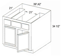 "Parkview Cabinets 34-1/2""(h) x 39""(w) x 21""(d) RTA Tall Vanity Sink Base Cabinet with Drawers"