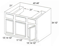 "Parkview Cabinets 34-1/2""(h) x 45""(w) x 21""(d) RTA Tall Vanity Sink Base Cabinet with Drawers"