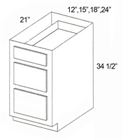 "Parkview Cabinets 34-1/2""(h) x 18""(w) x 24""(d) RTA Tall Vanity Drawer Base Cabinet"