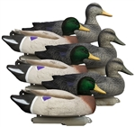 Battleship Powers' Pack, Foam Filled, 3 Mallard Drakes Flocked Heads 3 Black Ducks