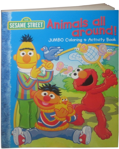 sesame street animals all around coloring book