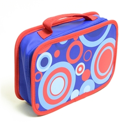 Red and Blue Circle Design Pencil Case