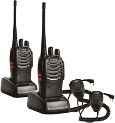 GoTalkie Two-Way Radios (2 Pack) and Speaker Mic (2 Pack)