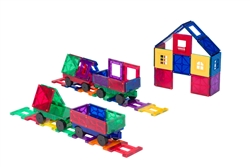 Playmags Clear Colors Magnetic Tiles Building Set 50 Piece Set Includes Magnetic Cars