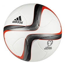 Adidas Euro 2016 Qualifier Official Match Soccer Ball (White/Black/Iron Metallic/Silver Metallic)