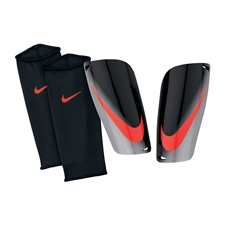 Nike Mercurial Lite Soccer Shinguards (Black/Metallic Silver/Total Crimson)